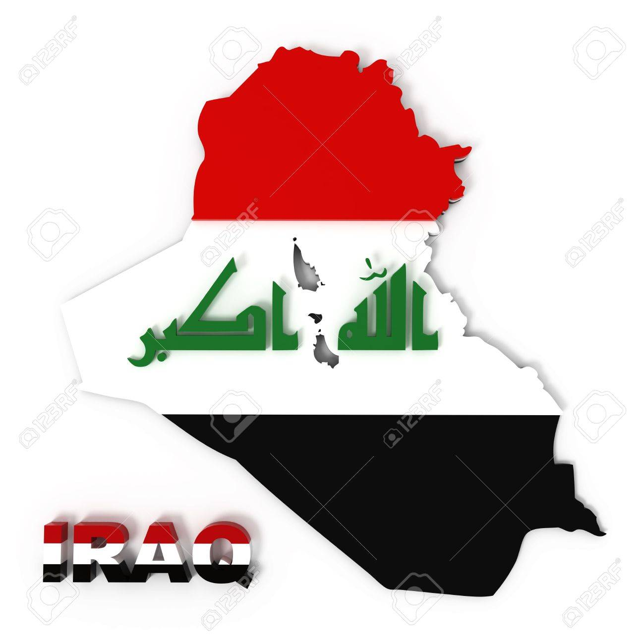 Iraq, map with flag, isolated on white,  3d illustration Stock Illustration - 8219936