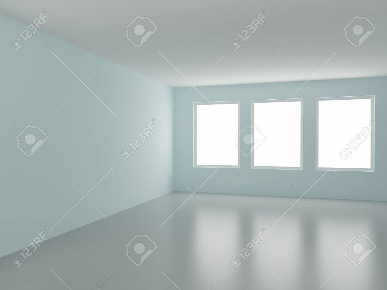 Empty room, with three windows, 3d illustration Stock Illustration - 8362925
