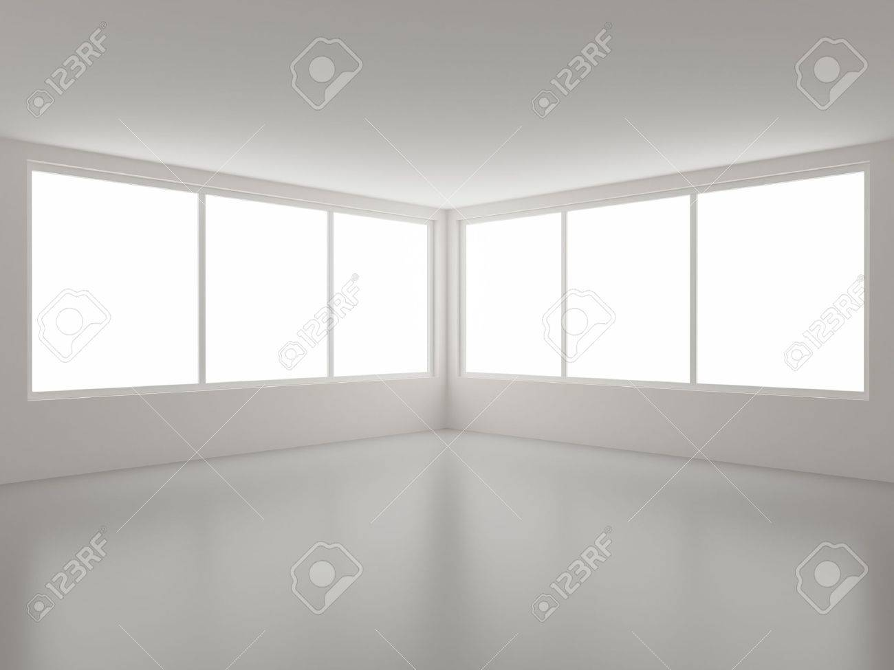New clean interior, corner and windows, clipping path for windows included Stock Photo - 8446556
