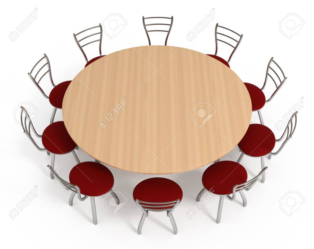round table with chairs Round Table With Chairs, Isolated On White , 3d Illustration Stock  round table with chairs