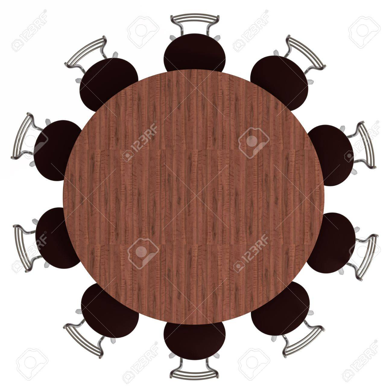 Round Table And Chairs Top View Isolated On White 3d Illustration