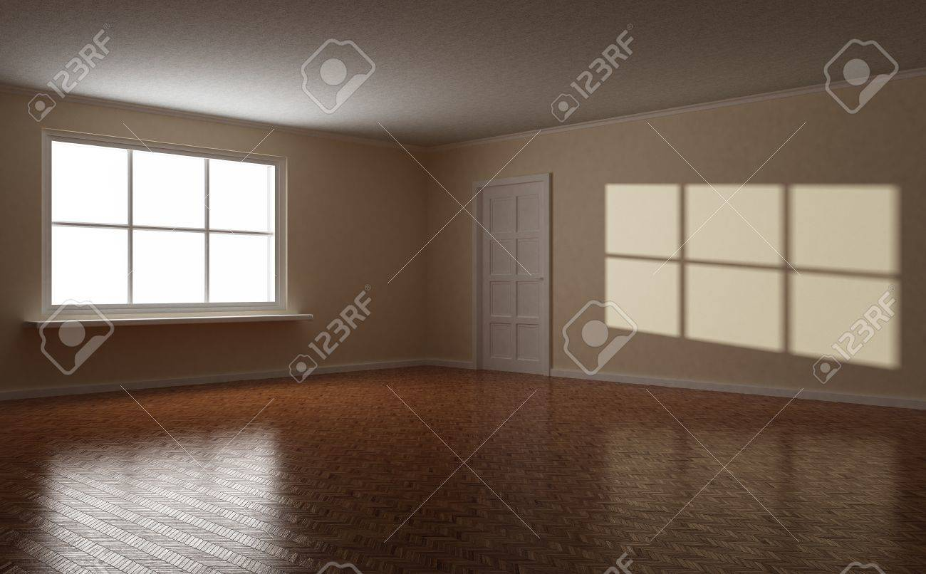 Empty clear room, wooden floor, white window and door, highlight on the wall, 3d illustration Stock Photo - 9735655