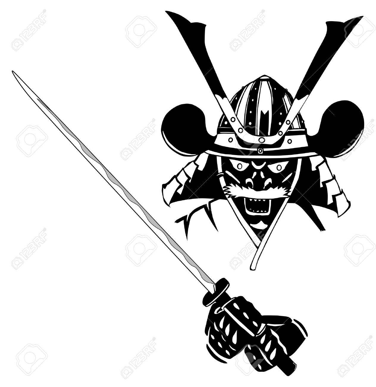 Samurai in mask, with sword, vector, easy to edit layers Stock Vector - 14517587