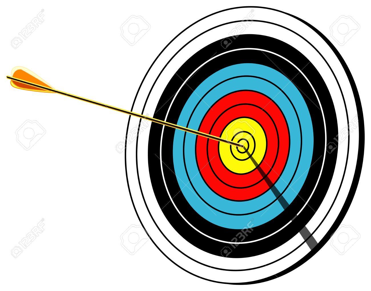 Archery Target With Arrow In Center Bullseye Shot Isolated