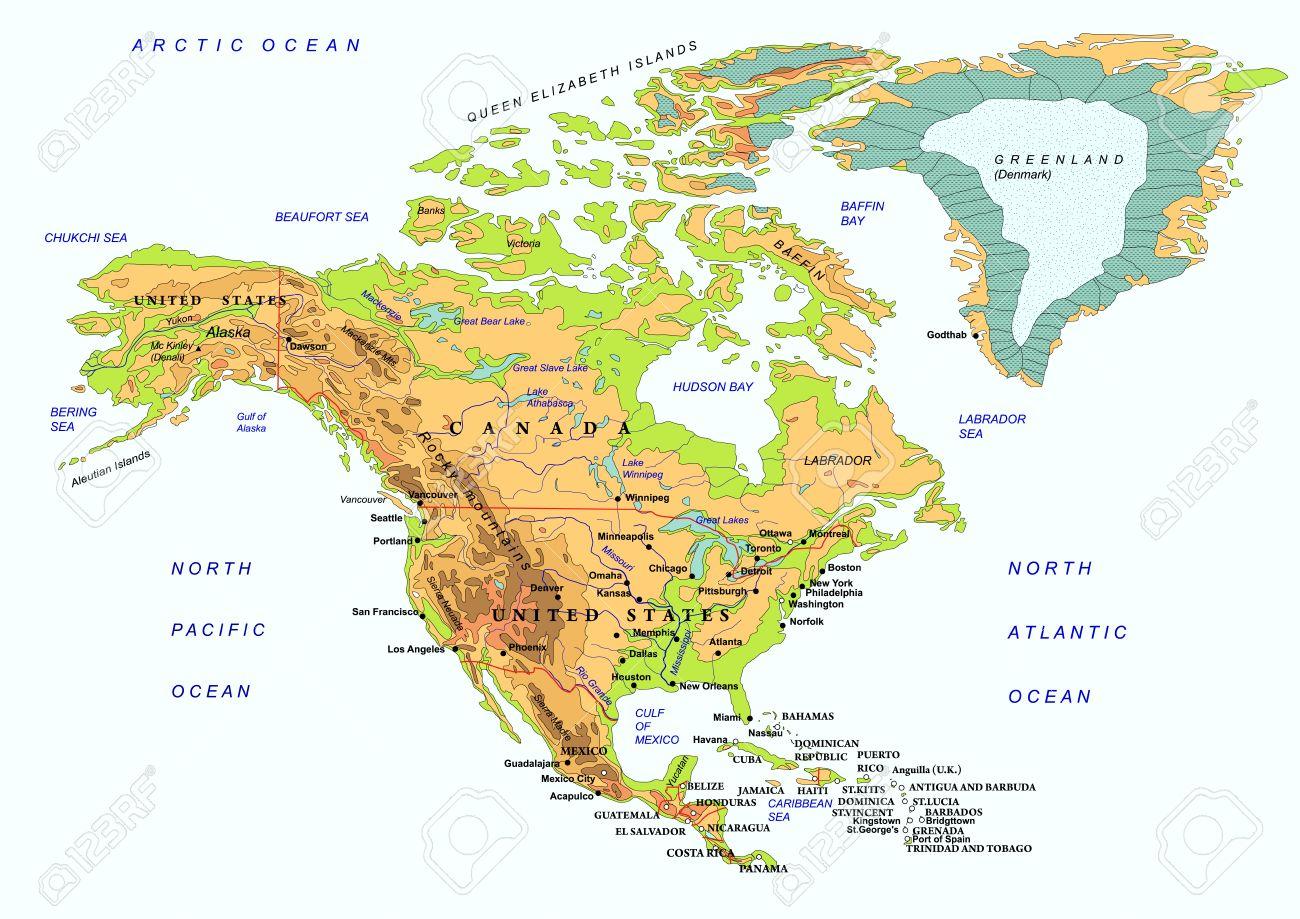 América Del Norte Mapa Físico Con Los Nombres De Los Objetos Geográficos Ilustración Aislado