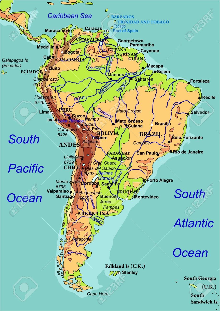Map Of South America The Names Of Countries Cities And Rivers - Map of south american countries
