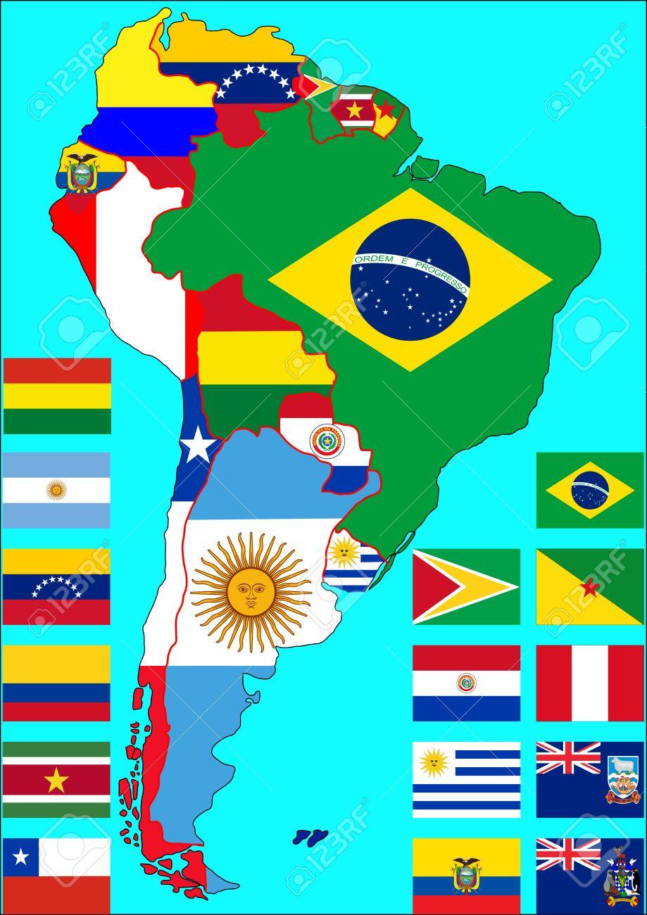 Mapa Politico De America Del Sur Con Banderas De Los Paises En El Mapa Banderas