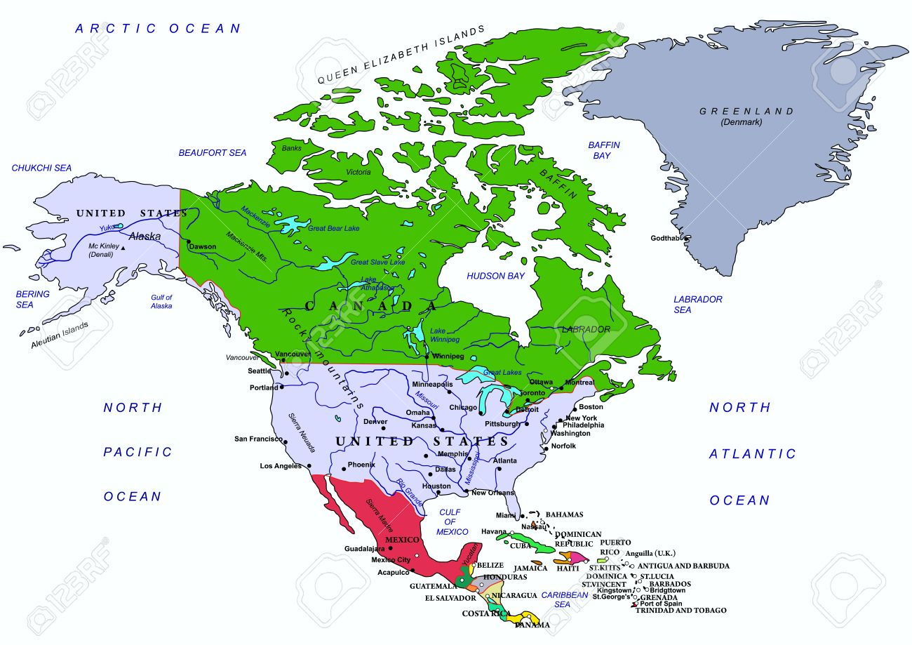North America Political Map With Names Of Geographical Objects