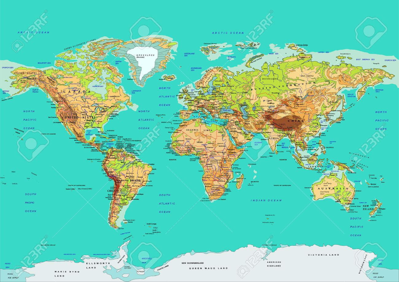 Map of the World. Names of countries and cities, continents, state borders are located on separate layers. - 56877474
