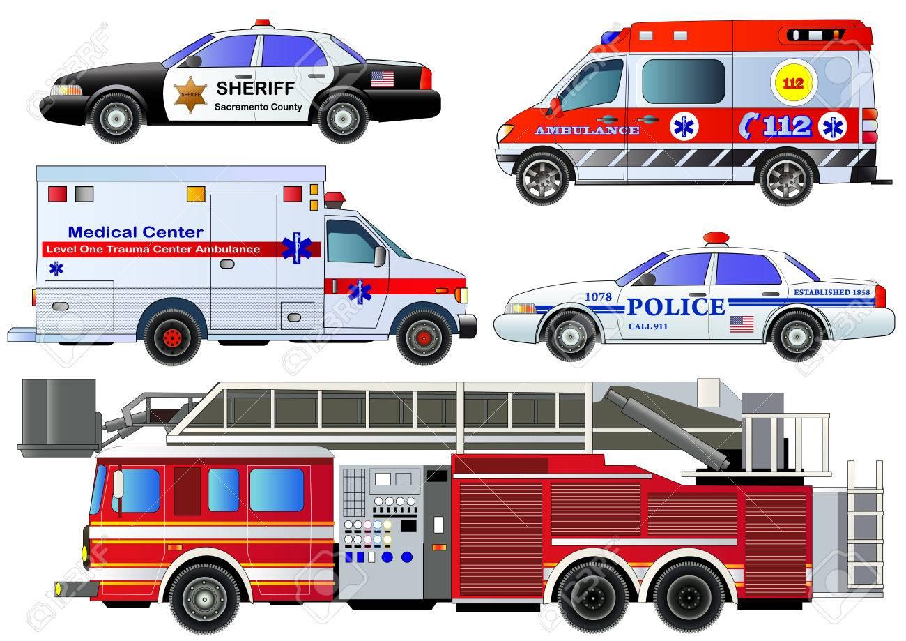 eba54390e087 Emergency Transport Icons Set. Vector Set
