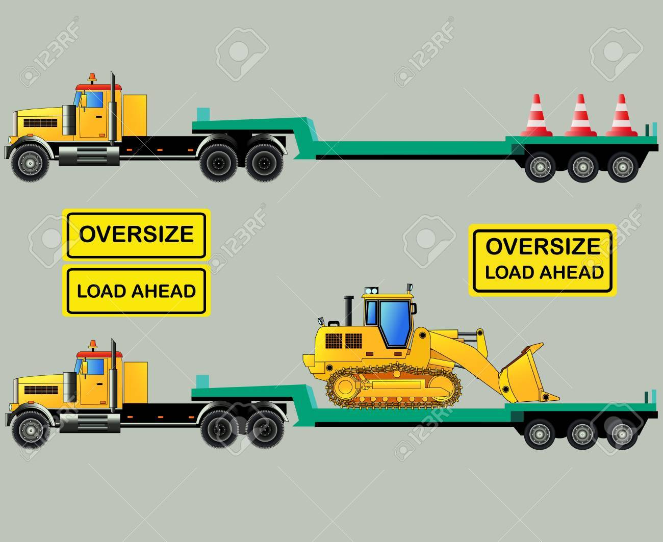 Oversize load truck with lowbody trailer and loader oversize load signs vector illustration