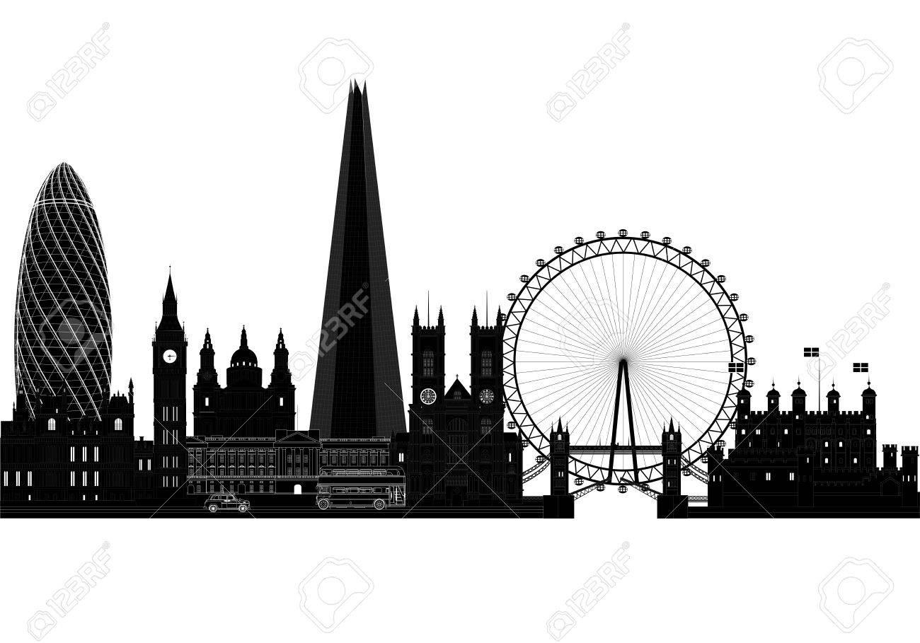 London City Skyline Silhouette Vector Illustration Isolated On White Stock