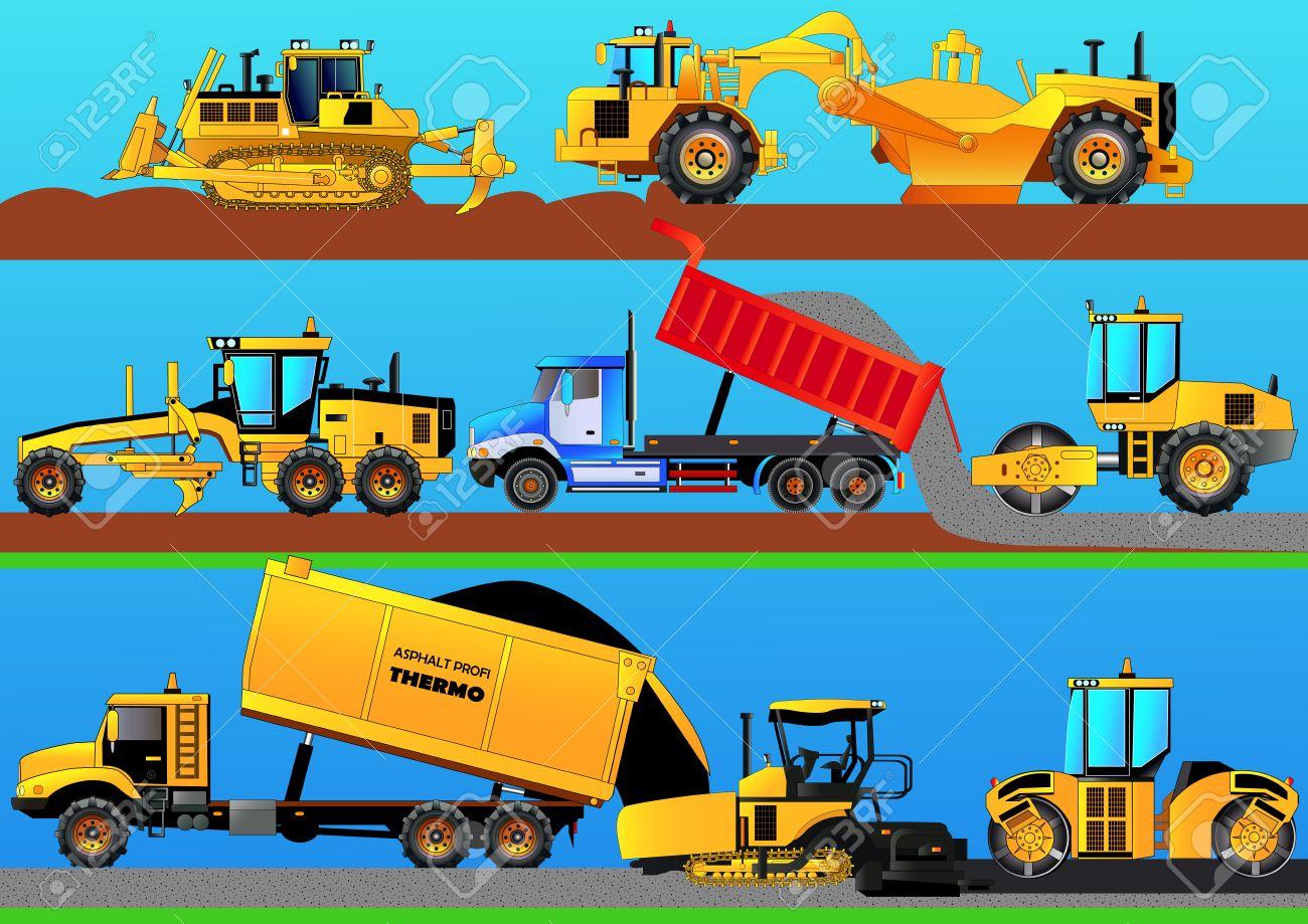 Road works. Road rollers, asphalt paver, bulldozer, grader, tractor scraper and truck constructing a road. Detailed vector illustration - 75204009