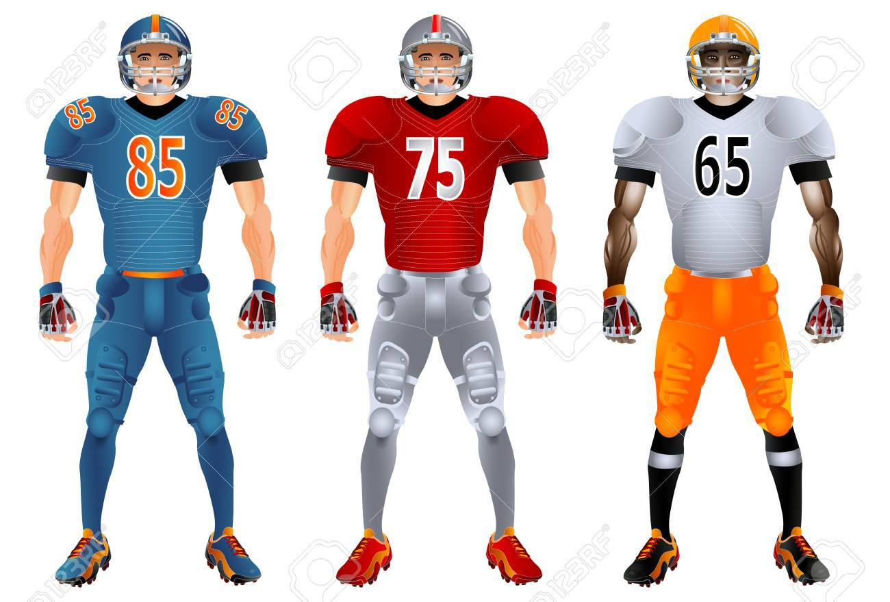 a6cc3a623b9 American football players. Uniform. Set. Vector illustration. Isolated on  the white background