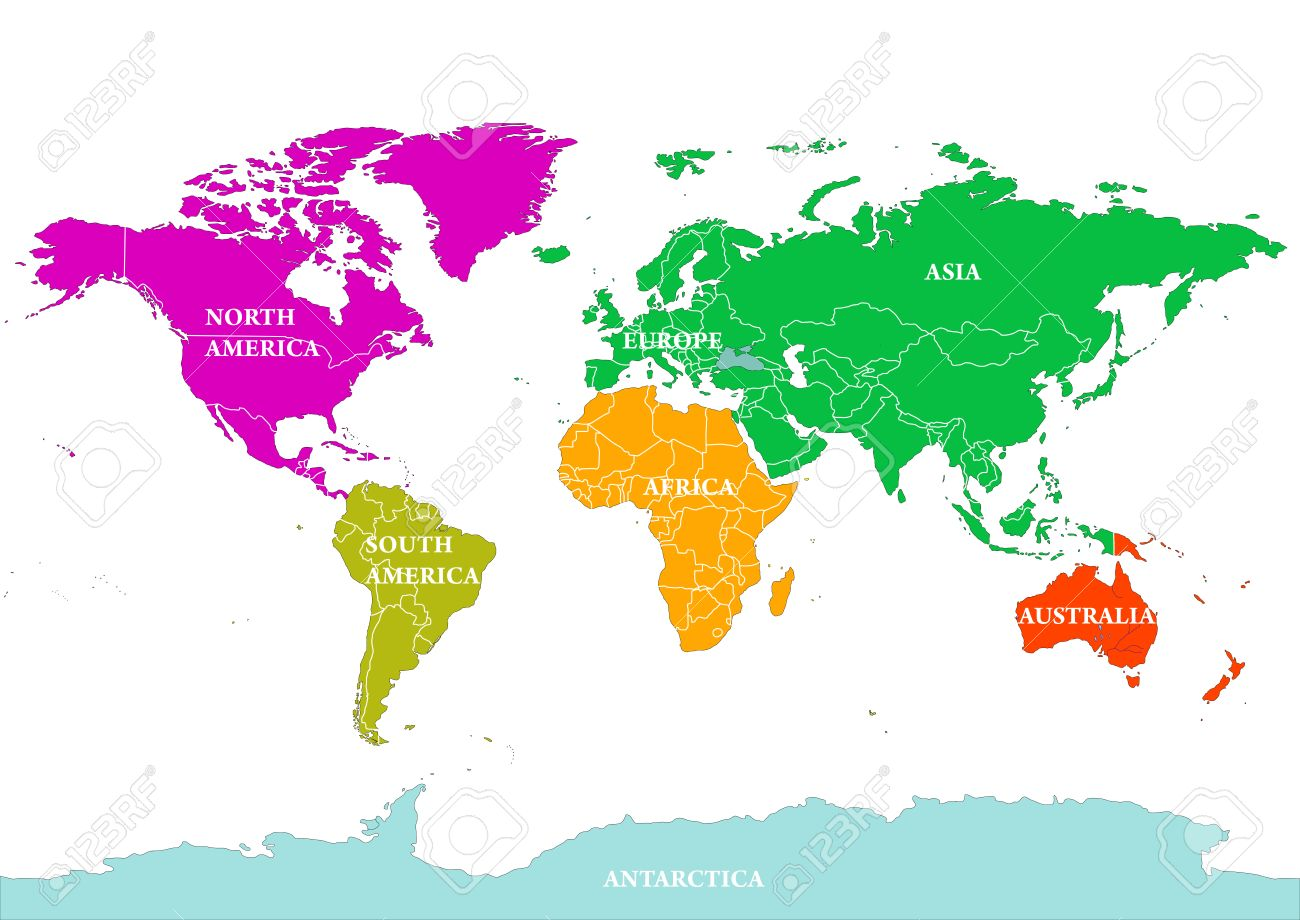 World Map With Australia.Seven Continents World Map North America South America Europe