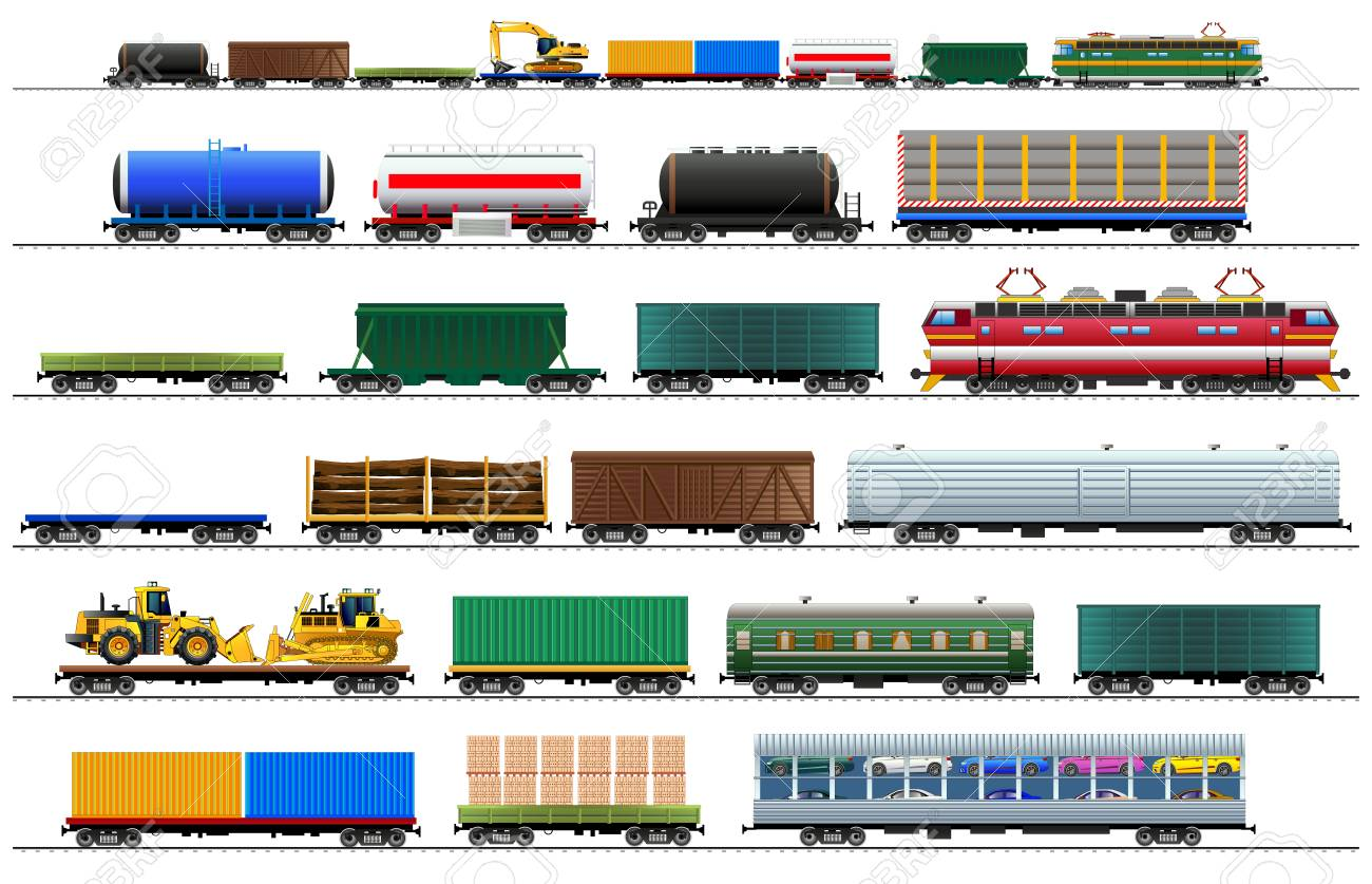 Cargo train cars. Railway carriage set. Color vector isolated on white background illustration Eps10. Silhouette - 92220947