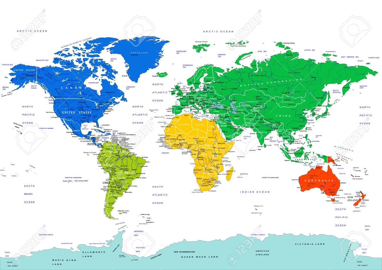 Weltkarte In Hohem Grade Ausfuhrliche Vektorabbildung Kontinente