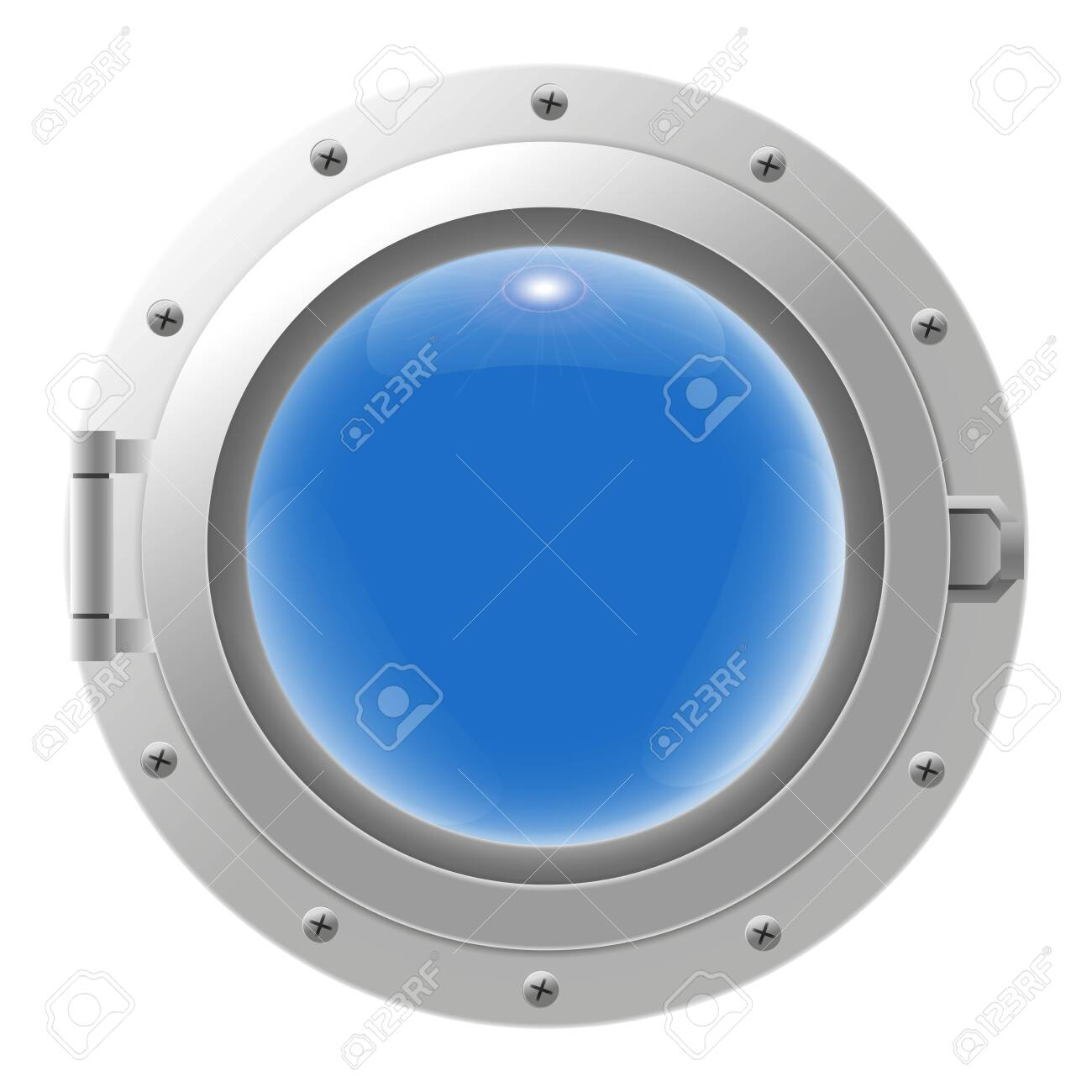 Metal ship porthole with glass isolated on transparent background. Rivets mount. Vector illustration - 140002367