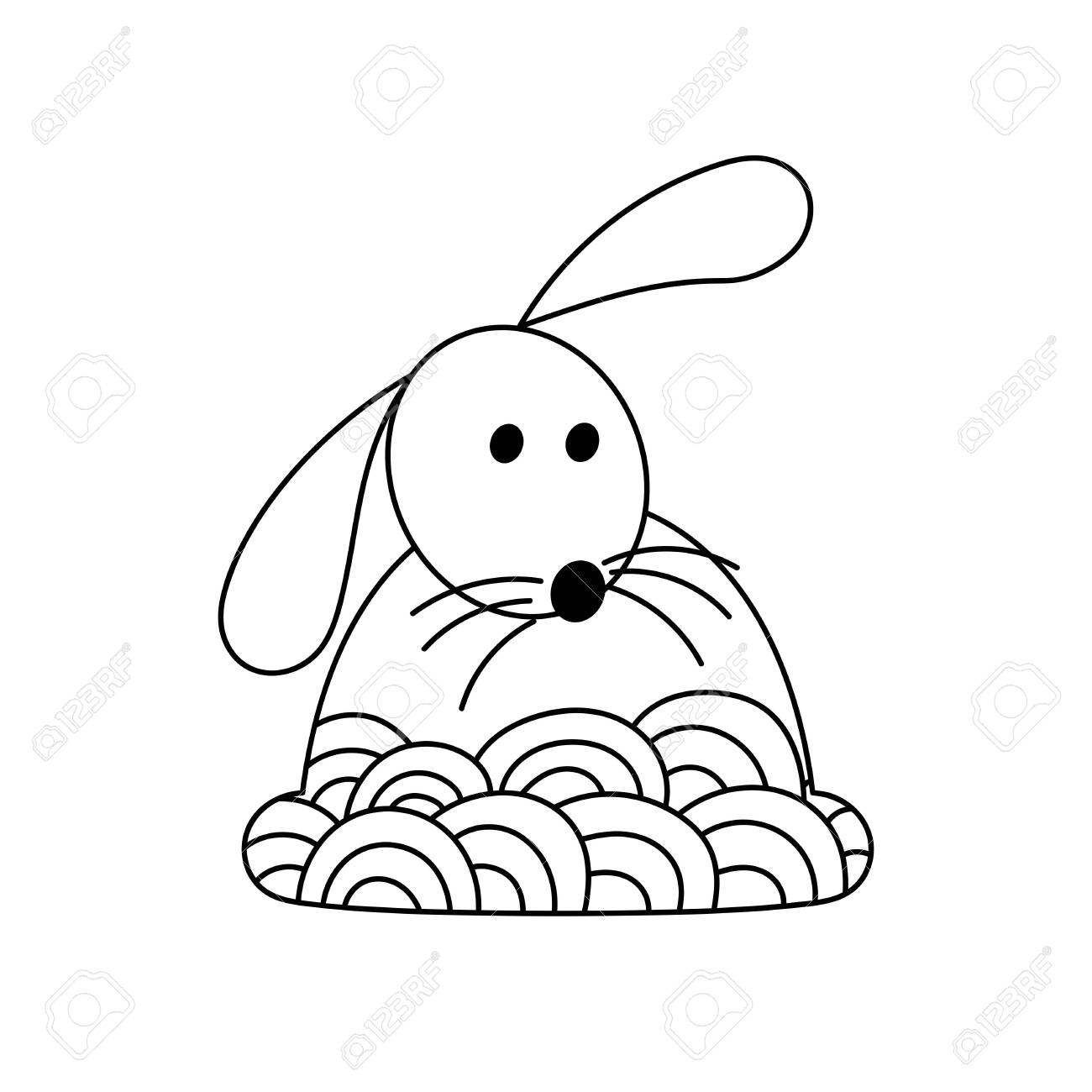 Cute Hand Drawn Rabbit Coloring Pages For Adults And Kids Easter Royalty Free Cliparts Vectors And Stock Illustration Image 134452744