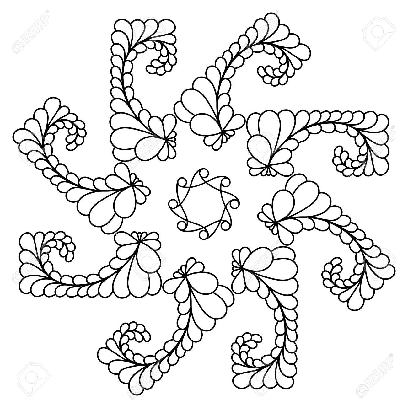 - A Simple Botanical Print Of A Mandala. Easy Coloring Illustration