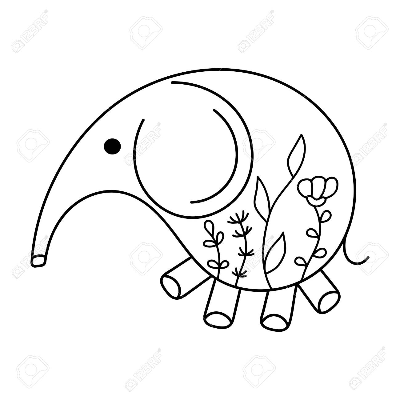 Hand Drawn Cute Baby Elephant Coloring Pages Floral Pattern Royalty Free Cliparts Vectors And Stock Illustration Image 136667801
