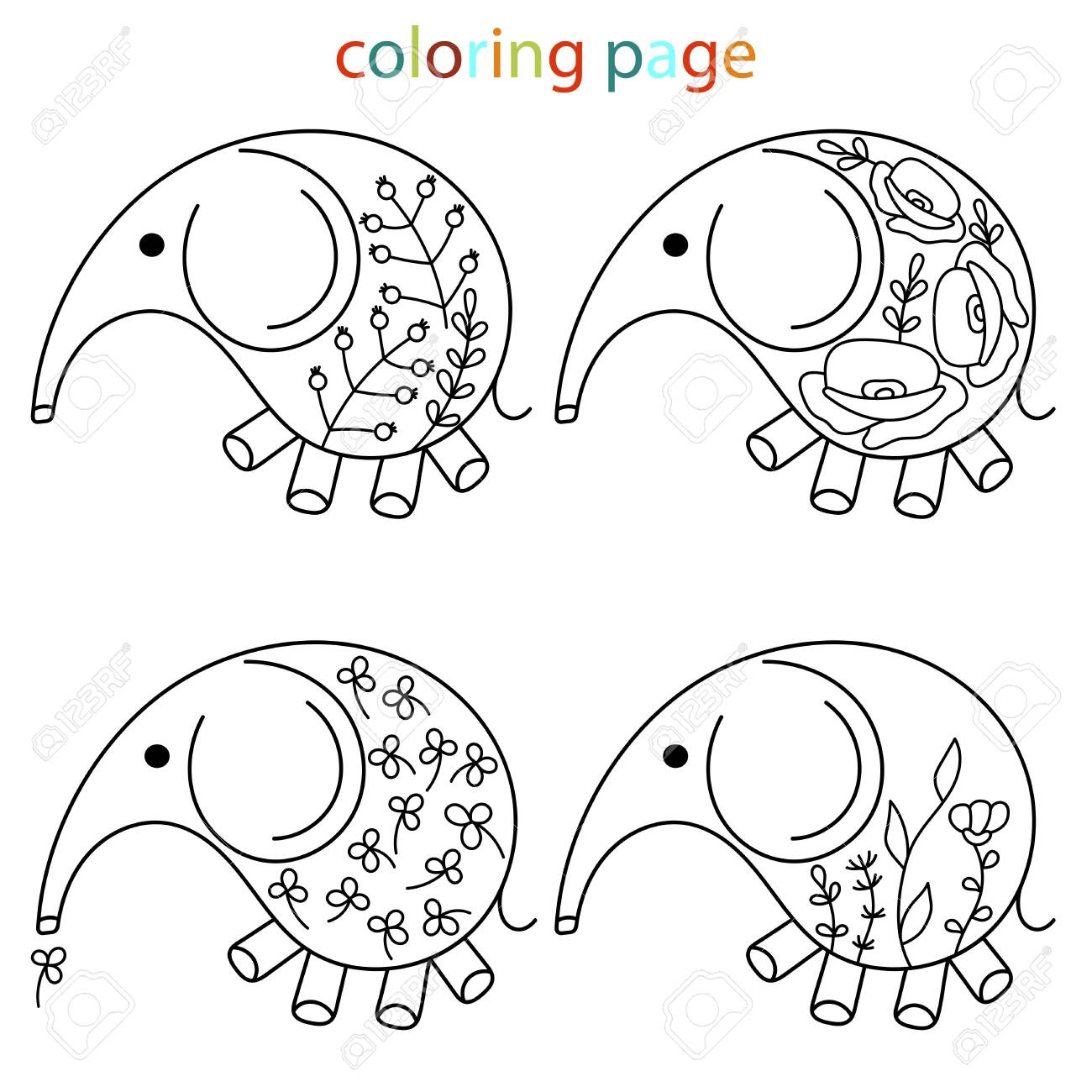 - Hand Drawn Cute Baby Elephant Coloring Pages. Floral Pattern
