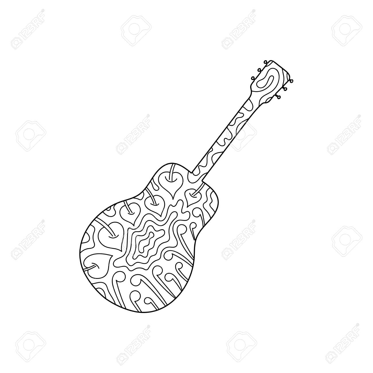 Contour Musical Instrument Guitar Hand Drawn Coloring Book Royalty Free Cliparts Vectors And Stock Illustration Image 144006922