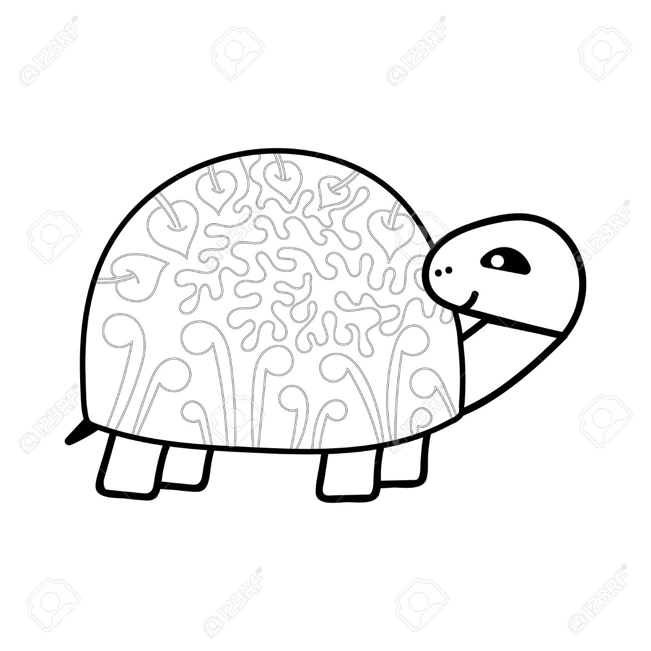 Hand Drawn Coloring Book A Cute Turtle Anti Stress Coloring Royalty Free Cliparts Vectors And Stock Illustration Image 145477274
