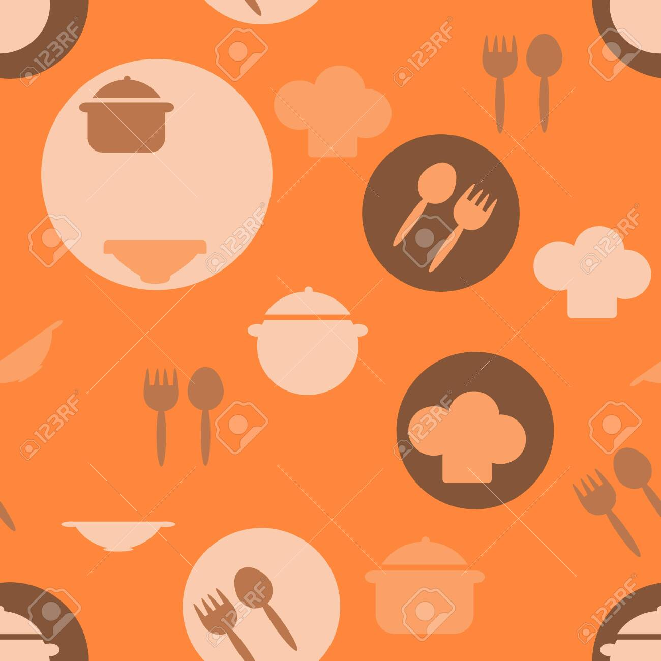 Seamless Pattern Of Kitchen Utensils Symbols Pot Plate Fork Royalty Free Cliparts Vectors And Stock Illustration Image 154499952