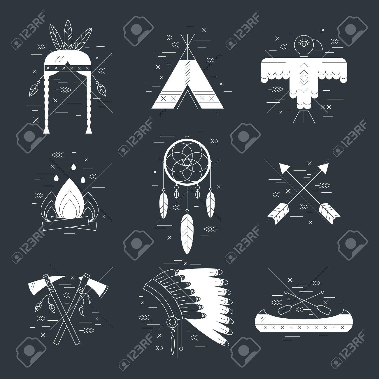 Native american vector elements concept black and white tribal native american vector elements concept black and white tribal line design indian symbol set biocorpaavc Gallery