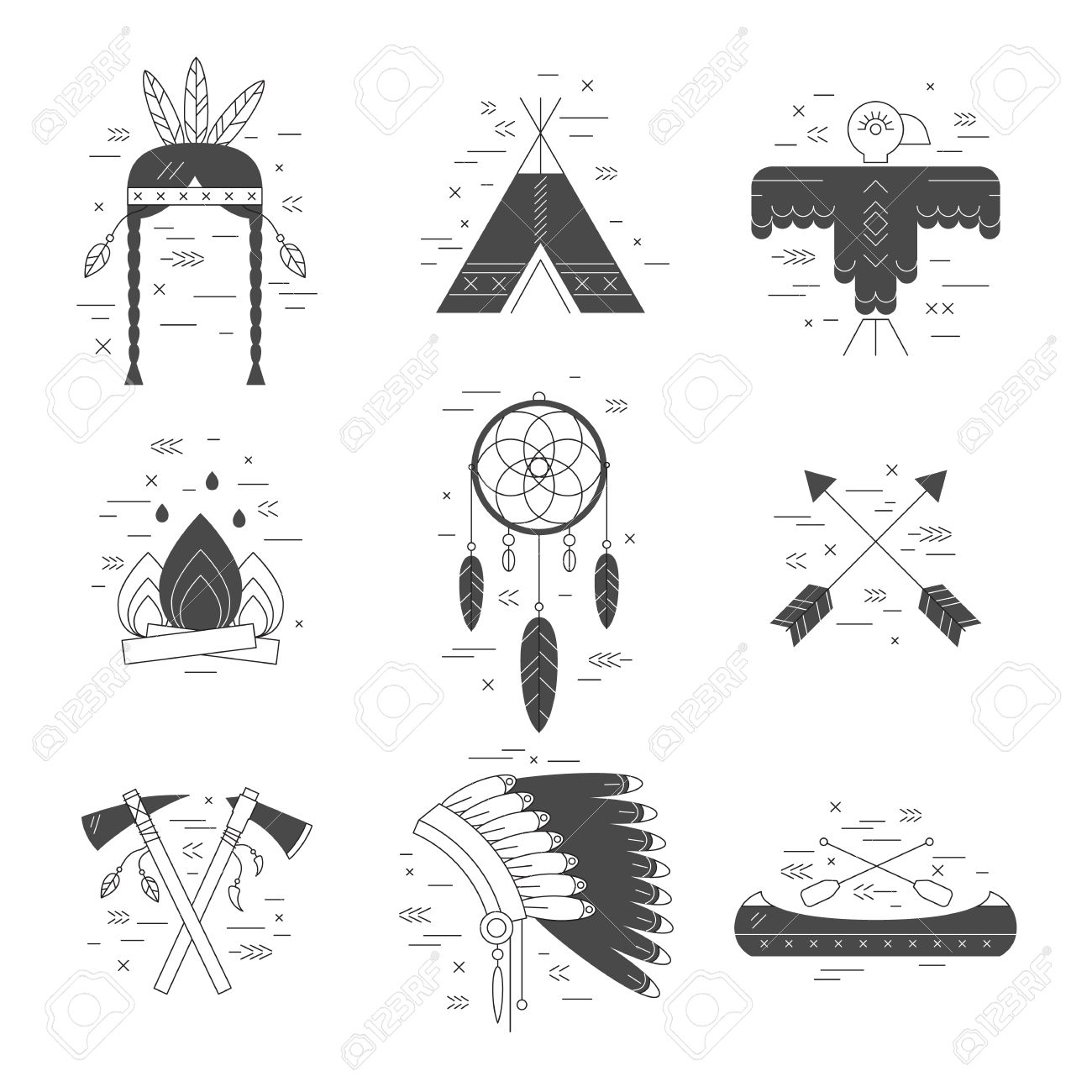 Native American Vector Elements Concept Black And White Tribal