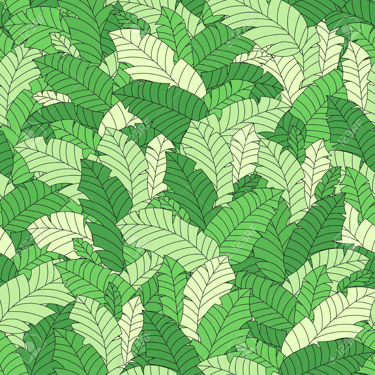 Vector Tropical Leaves Seamless Hand Drawn Pattern Plant Floral