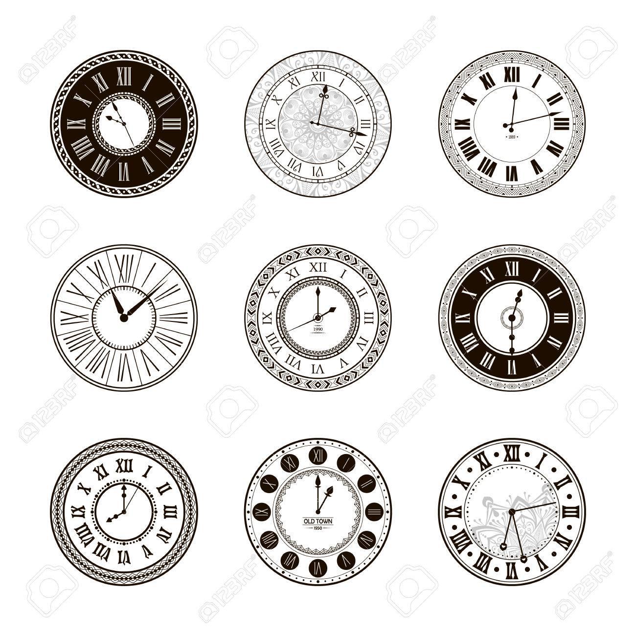 Vector reloj de época diales. aislado antiguo reloj clásico. diseño retro temporizador antigua. silueta tradicional. diseño gráfico objeto de