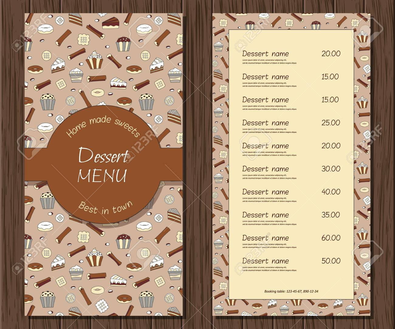 Vector dessert menu template restaurant or cafe retro background vector vector dessert menu template restaurant or cafe retro background chocolate cake brochure home made sweets bakery business illustration flashek Choice Image
