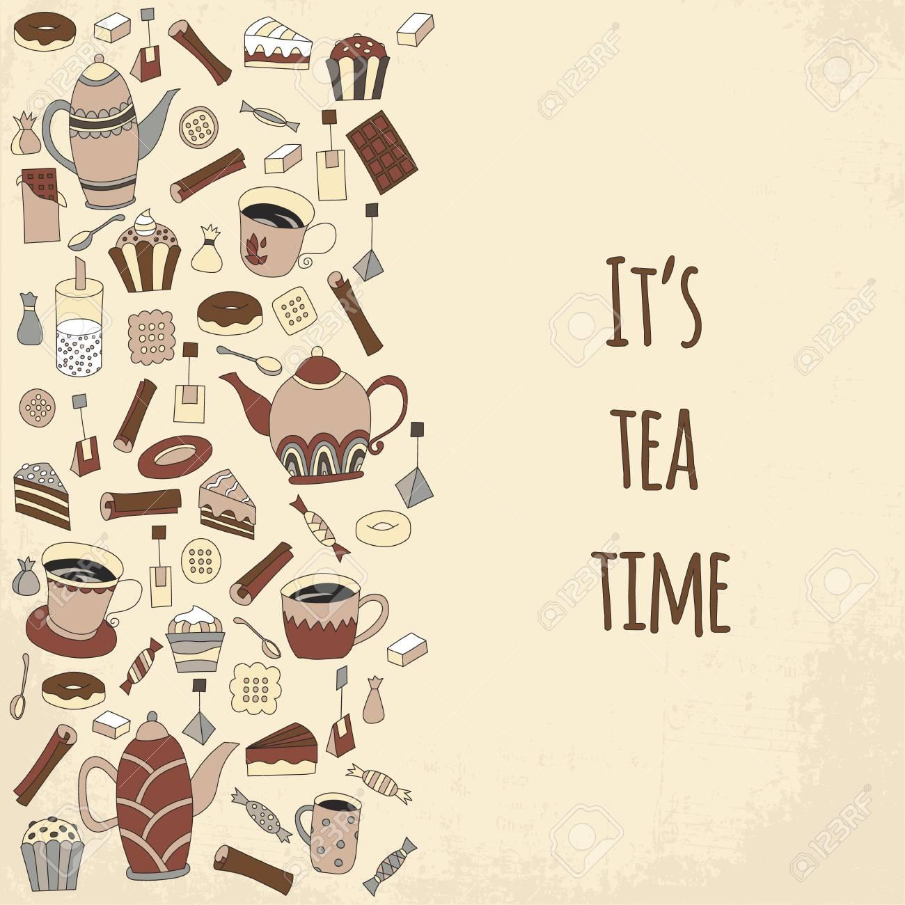 Tea Time Vector Illustration Hand Drawn Retro Design Cute Cafe Or Restaurant Menu Template