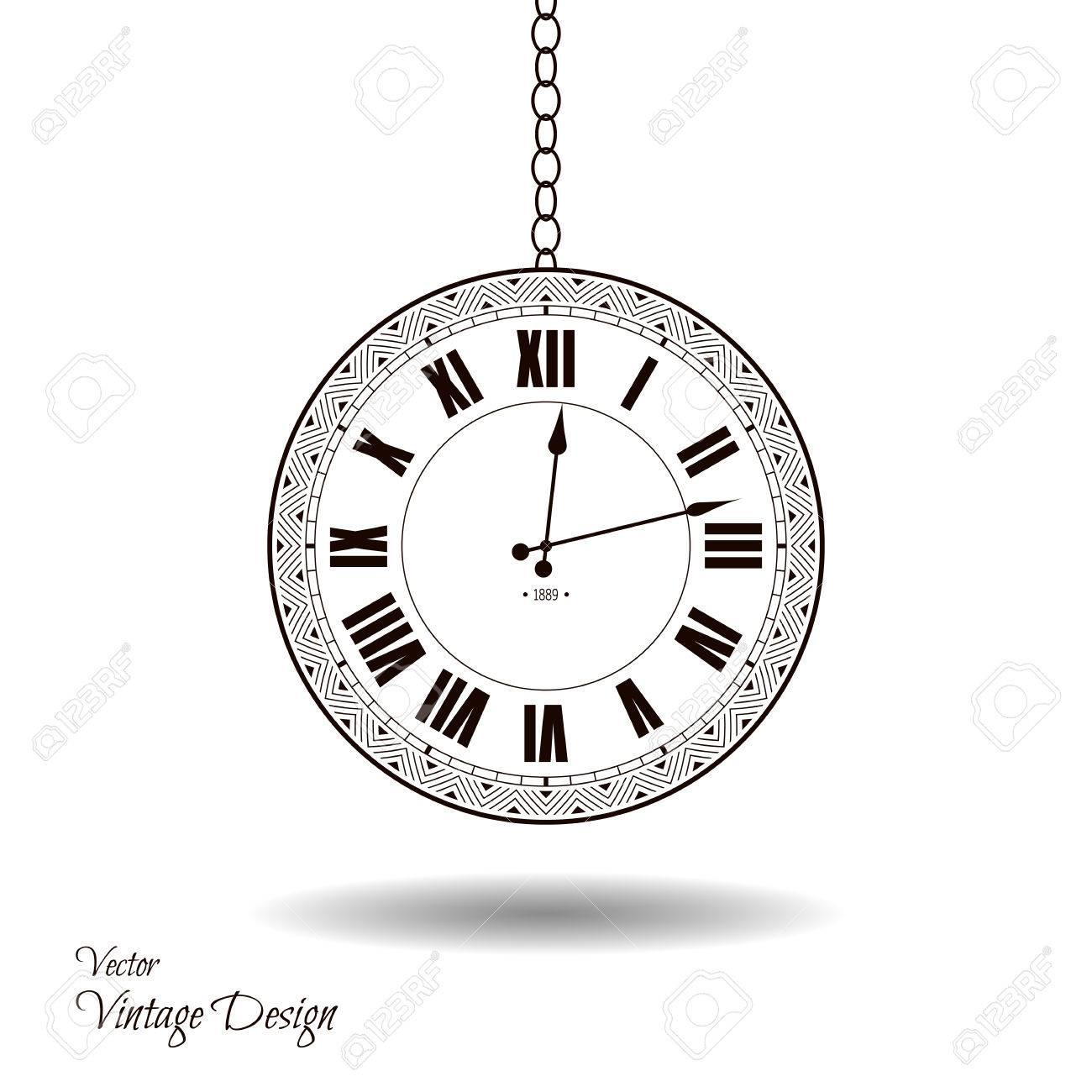 Vector esfera del reloj de la vendimia. aislado antiguo reloj clásico. diseño retro temporizador antigua. silueta tradicional. diseño gráfico objeto