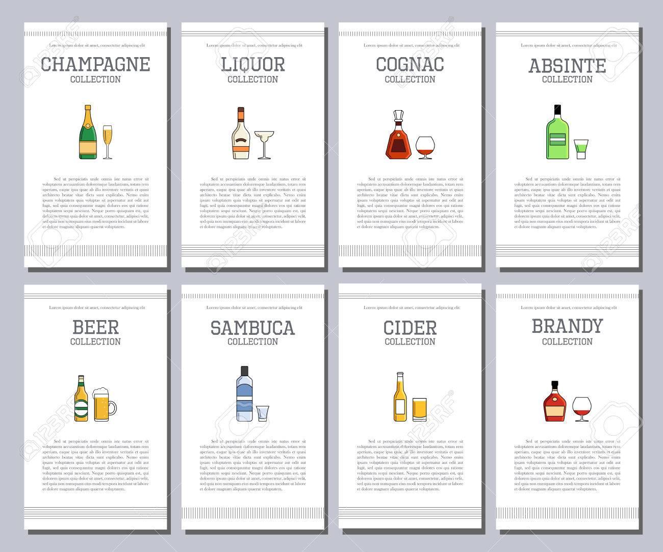 Vector Alkohol Liste Mit Symbolen Für Die Bar-Menü. Vodka Wein ...