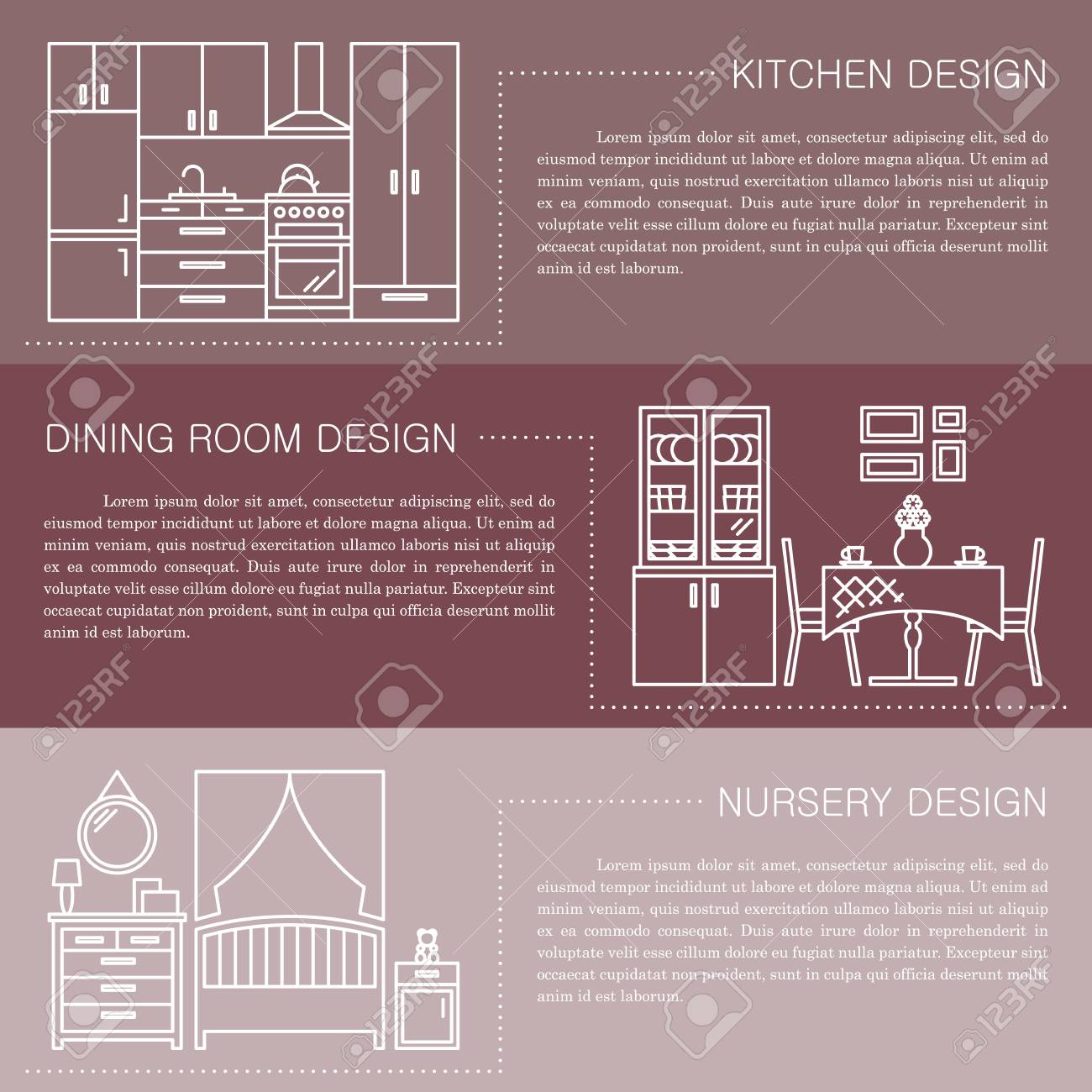Modern Brochure Flyer Design Template With Line Interior Icons Kitchen Dining Room Nursery