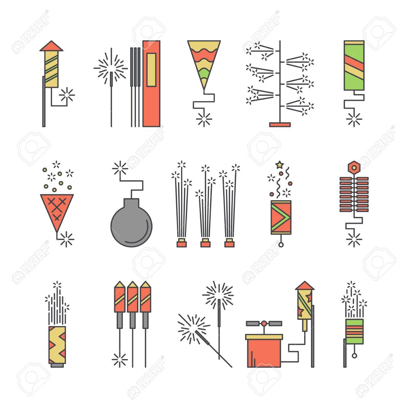 Vector Coloridos Iconos Pirotecnicos Elementos De Explosion De