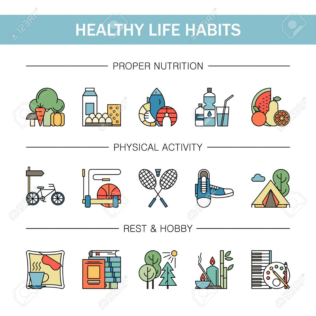 Healthy Lifestyle Habits Colorful Line Vector Icons Isolated Royalty Free Cliparts Vectors And Stock Illustration Image 72393470