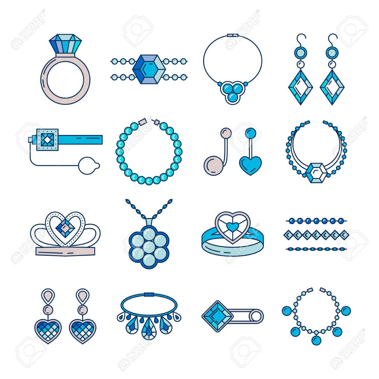 acheter bien vente limitée vaste gamme de Ensemble d'icônes de ligne de bijoux de vecteur. Collection de luxe diamant  en couleur bleu isolé sur blanc. Bague collier boucles d'oreilles chaîne ...
