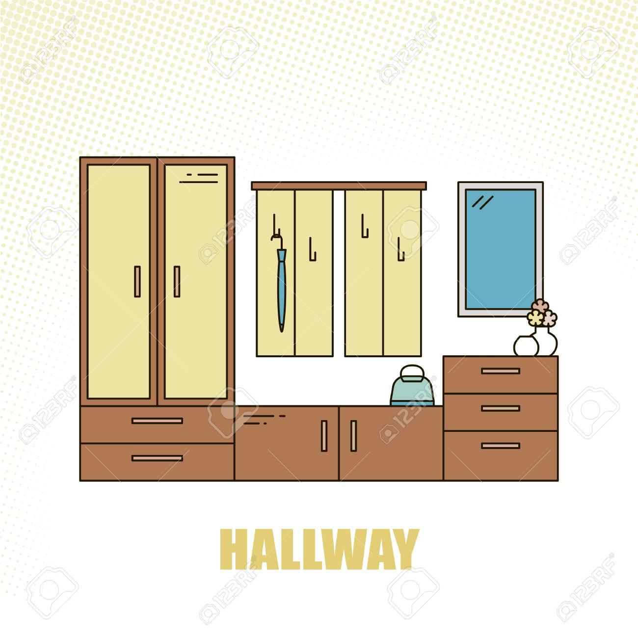 Belle Et Colorée Salle De Décoration Intérieur Intérieur Couloir à ...