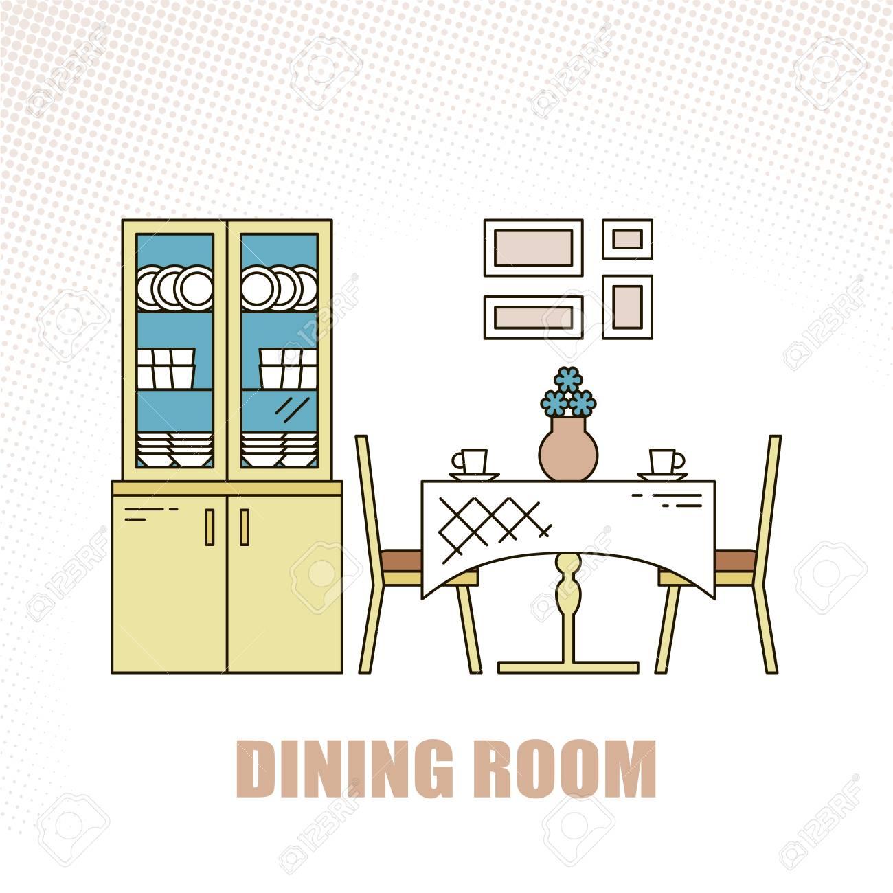 Jolie Et Colorée Salle à Manger Design D\'intérieur à La Mode à La ...