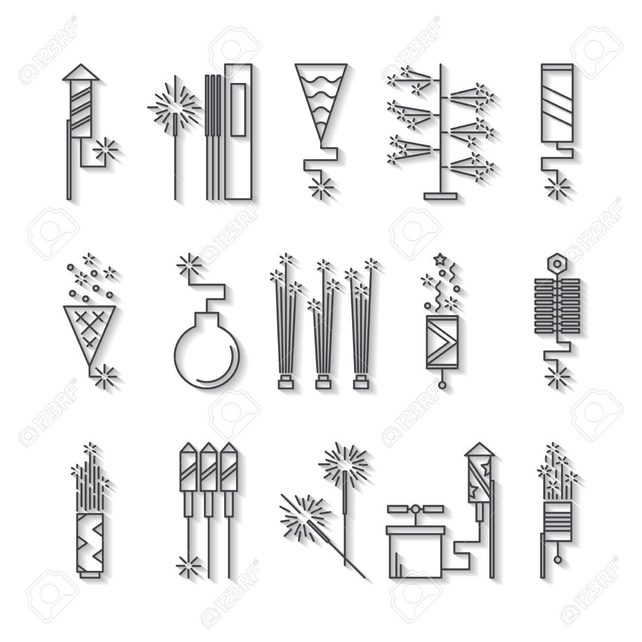 Iconos De Fuegos Artificiales De Vector Blanco Y Negro Con Sombra