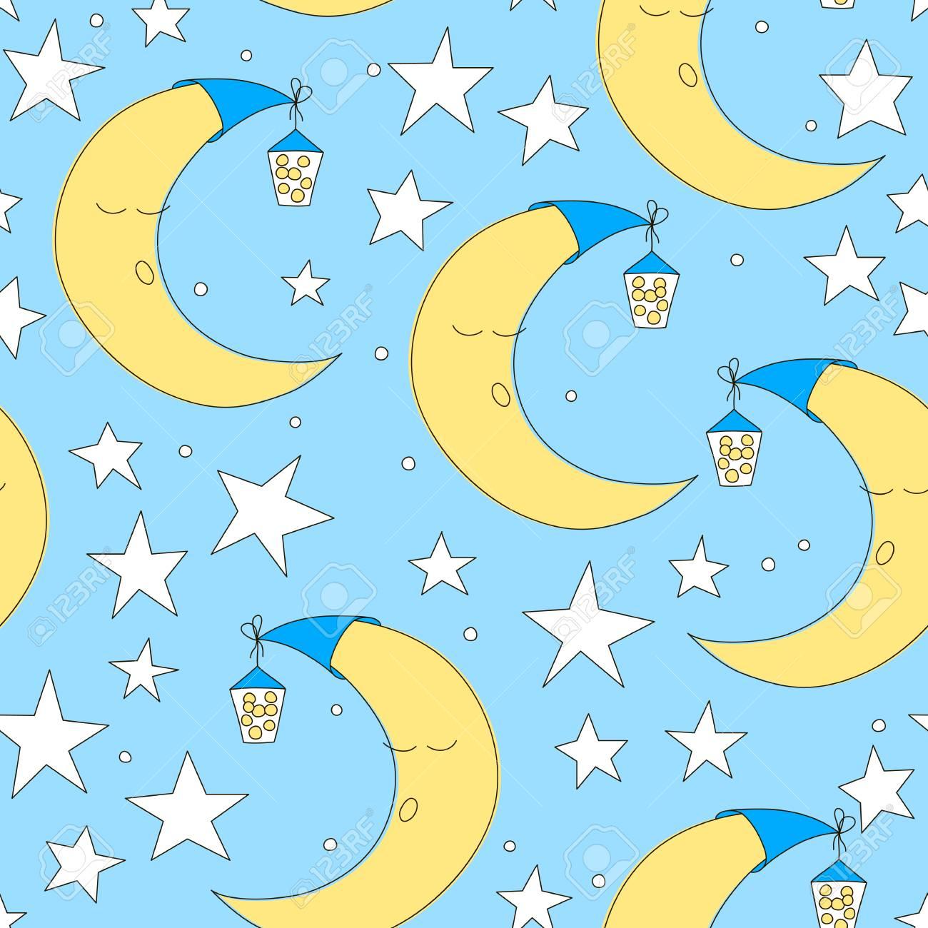 シームレスな月と星のパターンはベクトル イラストです かわいい