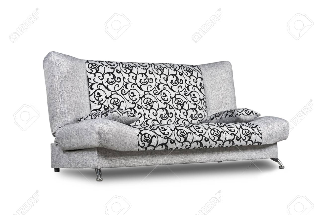 Modern sofa of light grey patterned fabric isolated on white,..