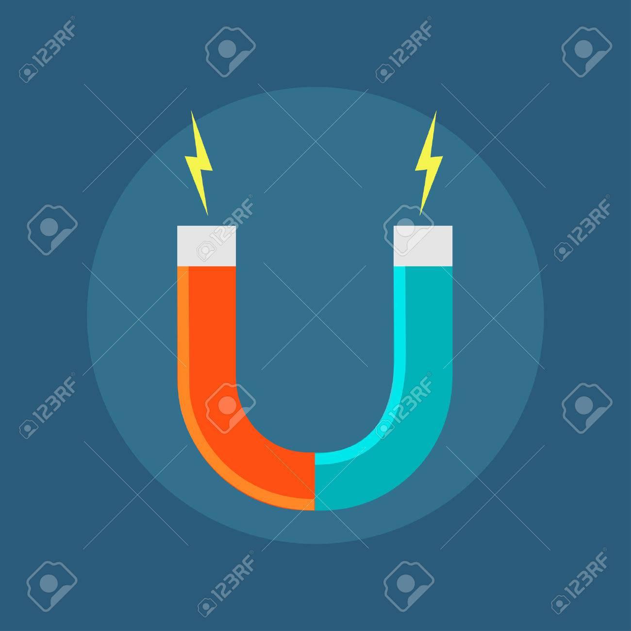 Vector Icon Isolated Horseshoe Magnet. Symbol Magnetism Magnetizing ...