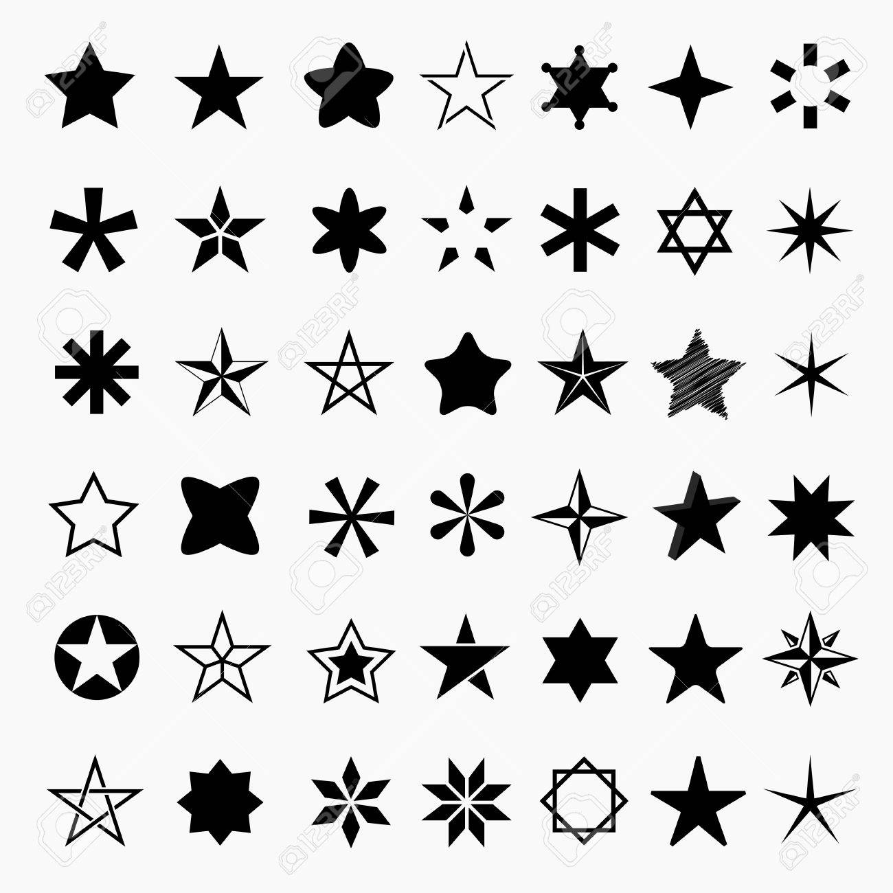 Establecer Iconos De Estrella. Pictograma Estrella De La Colección ...