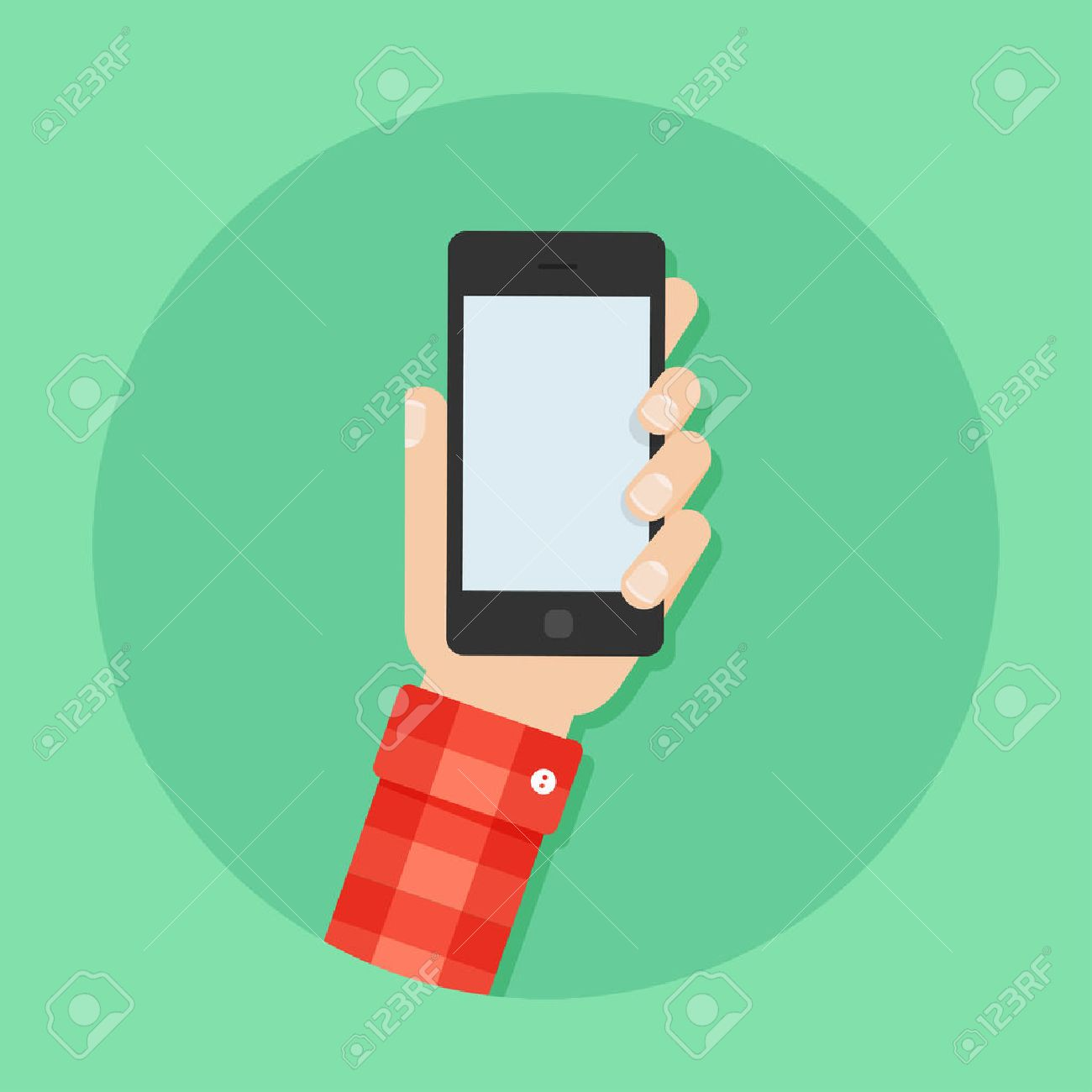 Hand with phone vector illustration. Man's hand with phone. Hand with phone flat illustration. Hand holding a phone concept. Smartphone in hand. Hand with phone isolated on background. - 55508905