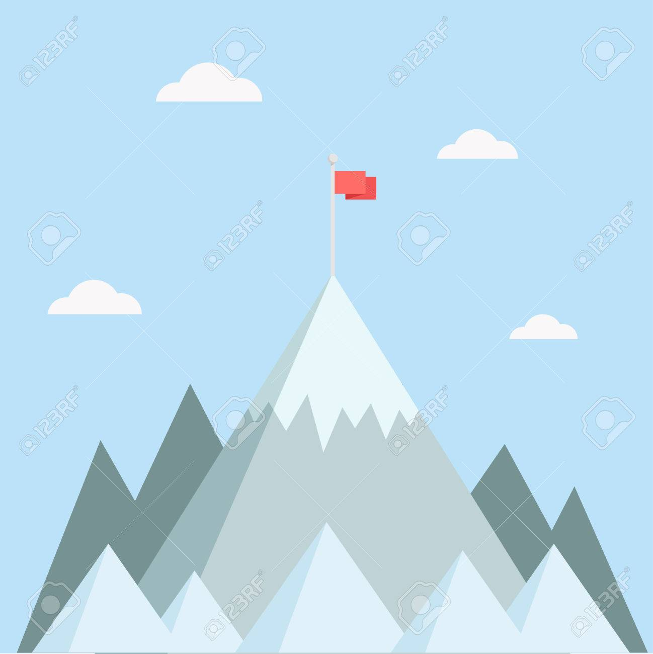 Mountain top vector illustration. Mountain peak in a flat style. Mountain with flag. Concept for illustration goals achievement, success. Mountain top with flag. - 55508906